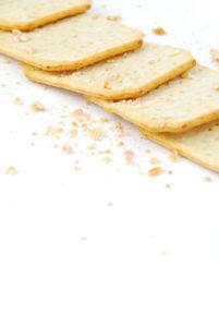 rectangular cheese crackers isolated on white background